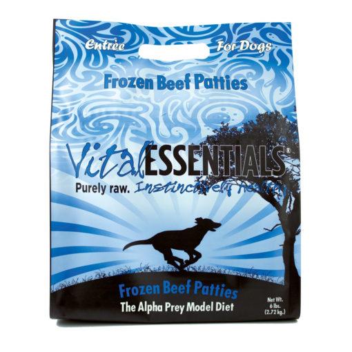 Vital Essentials Beef Patties Frozen Grain Free Dog Food, 6 lb
