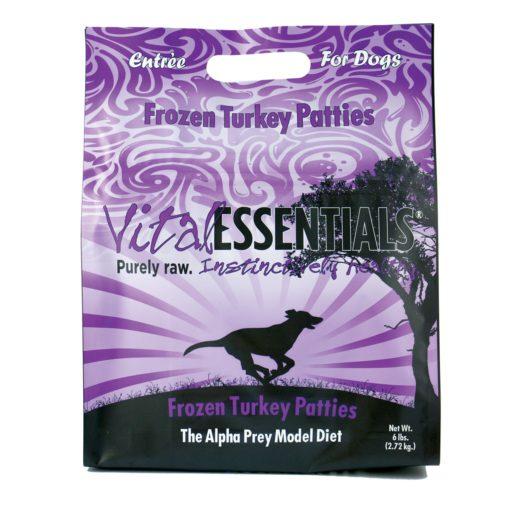 Vital Essentials Turkey Patties Frozen Grain Free Dog Food, 6 lb