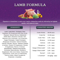 Lamb, Lamb Meal, Peas, Pea Flour, Pea Protein, Flaxseed, Chickpeas, Natural Flavors, Dehydrated Alfalfa Meal, Sunflower Oil (preserved with Citric Acid), Dried Beet Pulp, Potassium Chloride, Calcium Chloride, Salt, Chorine Chloride, Minerals (Zinc Proteinate, Iron Proteinate, Copper Proteinate, Manganese Poteinate, Cobalt Proteinate), Vitamins (Vitamin A Acetate, Vitamin D3 Supplement, Vitamin E Supplement, Niacin, d-Calcium Pantothenate, Thiamine Mononitrate, Pyridoxine Hydrochloride, Riboflavin Supplement, Folic Acid, Biotin, Vitamin B12 Supplement), Blueberries, Carrots, Cranberries, Calcium Iodate, Sodium Selenite, Preserved with Mixed Tocopherols.